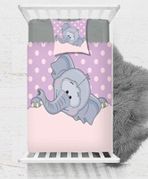 Else Purple White Dots Gray Cute Elephant Pink  3D Print Cotton Satin Single Bedspread Bed Cover Gift Combine Pillow Cover|Duvet Cover| |  -