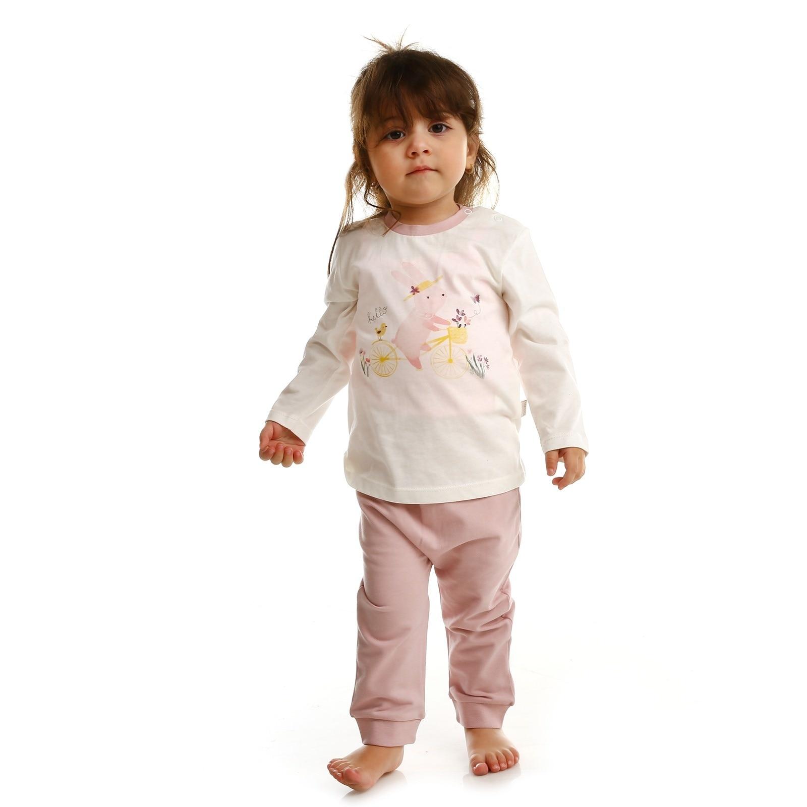 Ebebek Bebbek Summer Baby Girl Hello Supreme Crew-Neck Sweatshirt Pant 2 Pcs Set