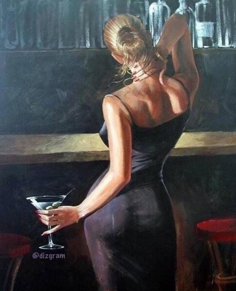 Painting By Numbers Woman At The Bar, 40x50 Cm