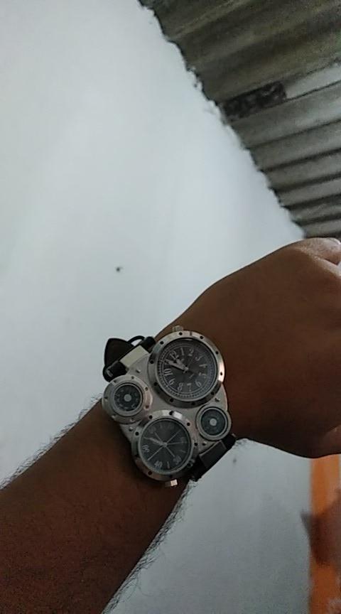 Montre homme thermomètre, deux cadrans, compas Design luxe unique