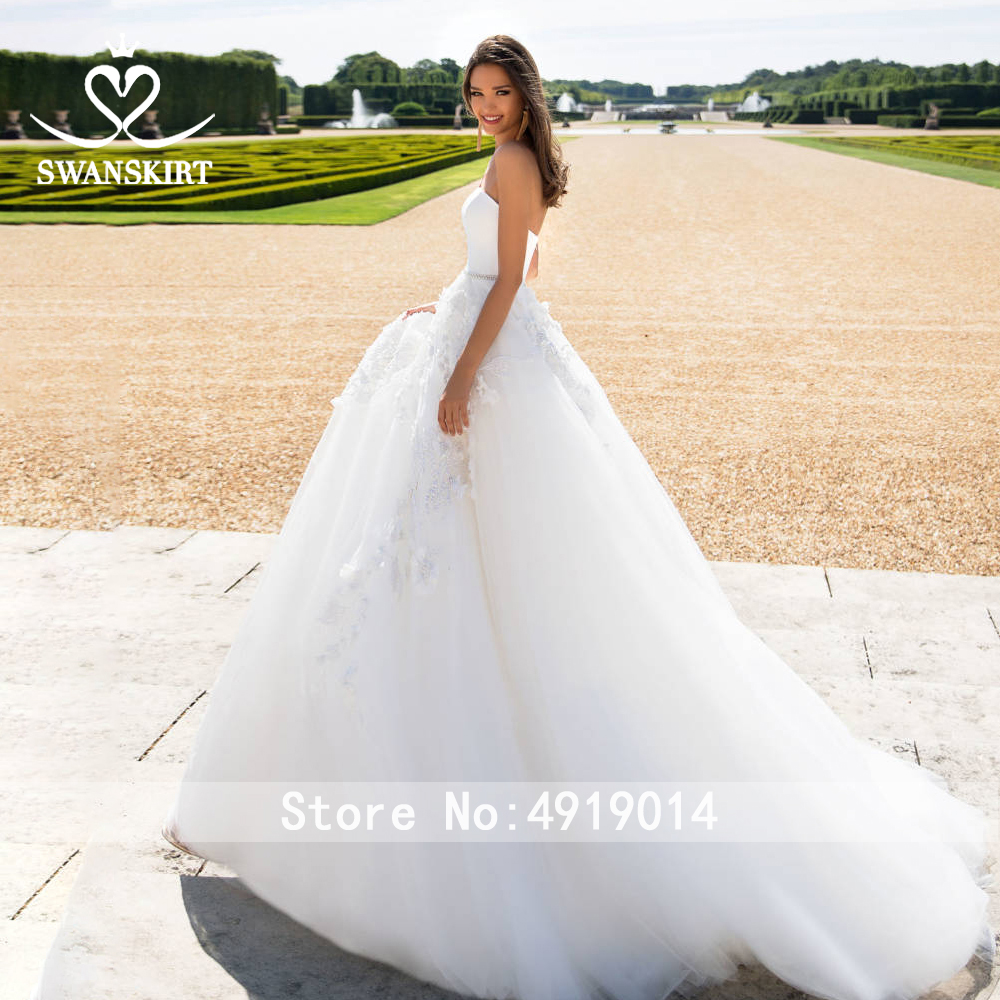 Image 3 - Satin 2 In 1 Appliques Wedding Dress 2019 Swanskirt Detachable Jacket Beaded A Line Customized Bride gown Robe De Mariage I183-in Wedding Dresses from Weddings & Events