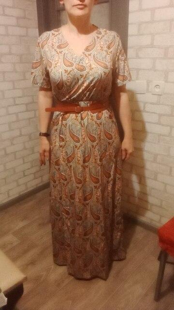 Fashion Long Dress for Women V Neck Short Sleeve Paisley Print Belt Large Hem Beach Long Dress Elegant Women's Dress