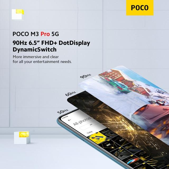 "Global Version POCO M3 Pro 5G Cellphone 64 /128GB ROM Dimensity 700 Octa Core 6.5"" 90Hz Display 48MP Triple Camera 5000mAh NFC 4"