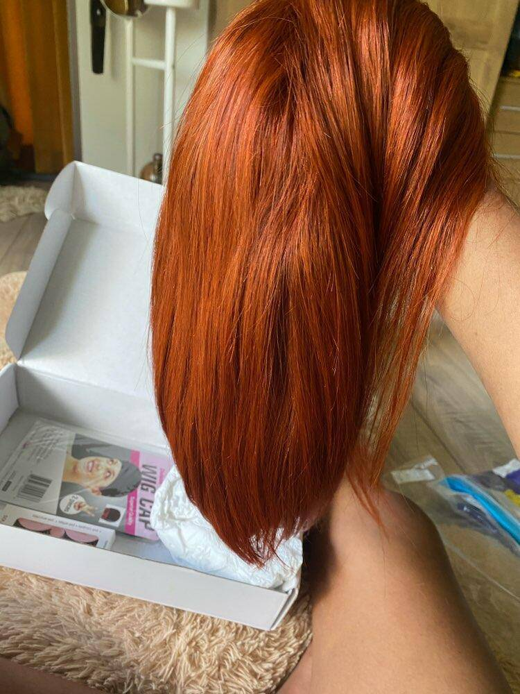 Red Color Human Hair Wigs Short Bob Ginger Orange Human Hair T Part Lace Wigs Natural Black Brazilian Human Hair Lace Front Wig photo review