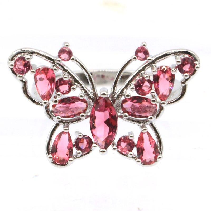 26x18mm Ziemlich Rosa Rapsberry Rhodolith Granat frau Schmuck, Der Silber Ringe