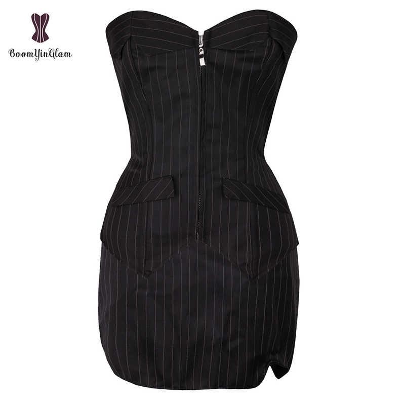 Phong Cách công sở Nữ Người Basques Áo Ngực Sọc Overbust Nịt TOP Với Váy Phối Ren Boned Áo Đầm Plus Kích Thước 801