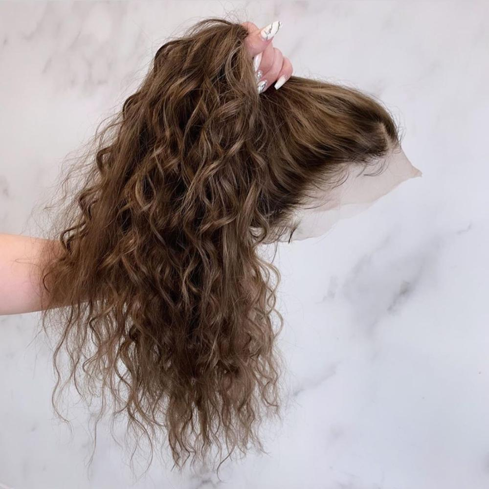 360 Lace Wig Human Hair Wigs Brown Curly Preplucked Bleached Knots Natural Peruvian Remy