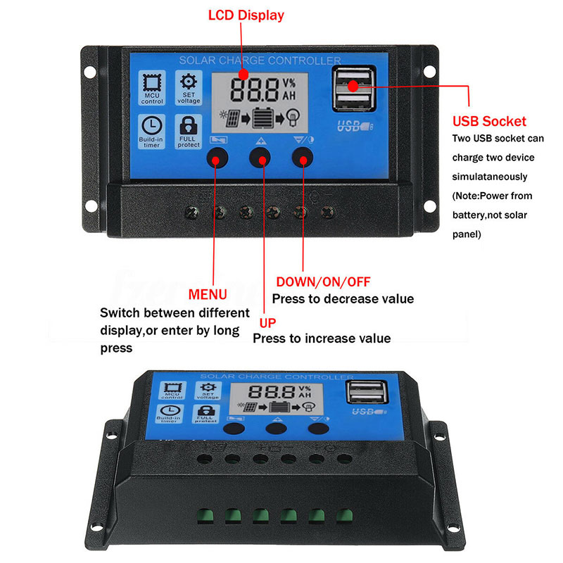 Solar Charge Controller 12V 24V 10A <font><b>40A</b></font> 50A 100A Automatic Solar Controller Panel Solar System USB LCD Battery Regulator Chargin image