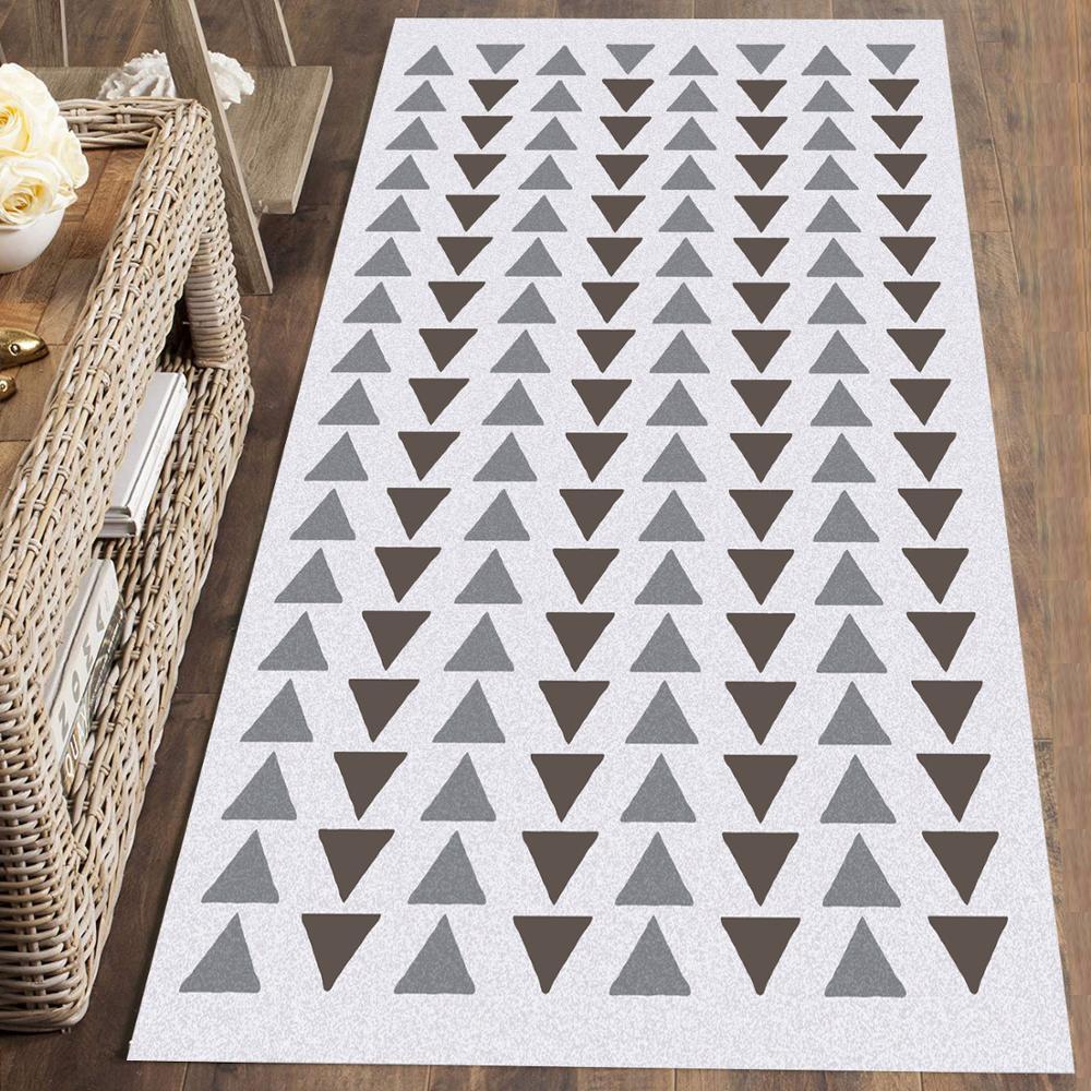 Else Gray Blue Triangles Geometric Nordec 3d Print Non Slip Microfiber Washable Long Runner Mat Floor Mat Rugs Hallway Carpets