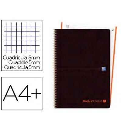 SPIRAL NOTEBOOK OXFORD EBOOK 1 LID PLASTIC DIN A4 + 80 H GRID 5 MM BLACK'N COLORS ORANGE 5 Units