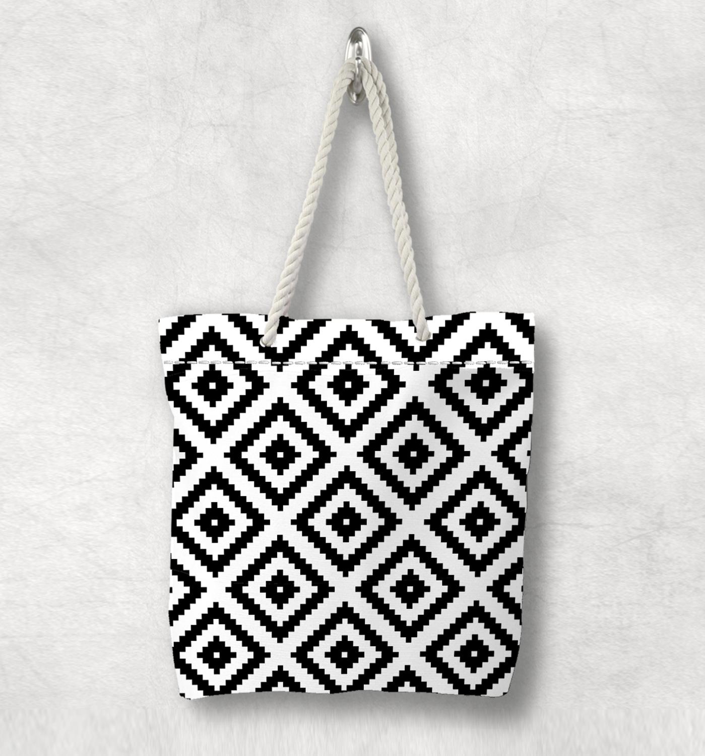 Else Black White Geometric Tiles New Fashion White Rope Handle Canvas Bag Cotton Canvas Zippered Tote Bag Shoulder Bag