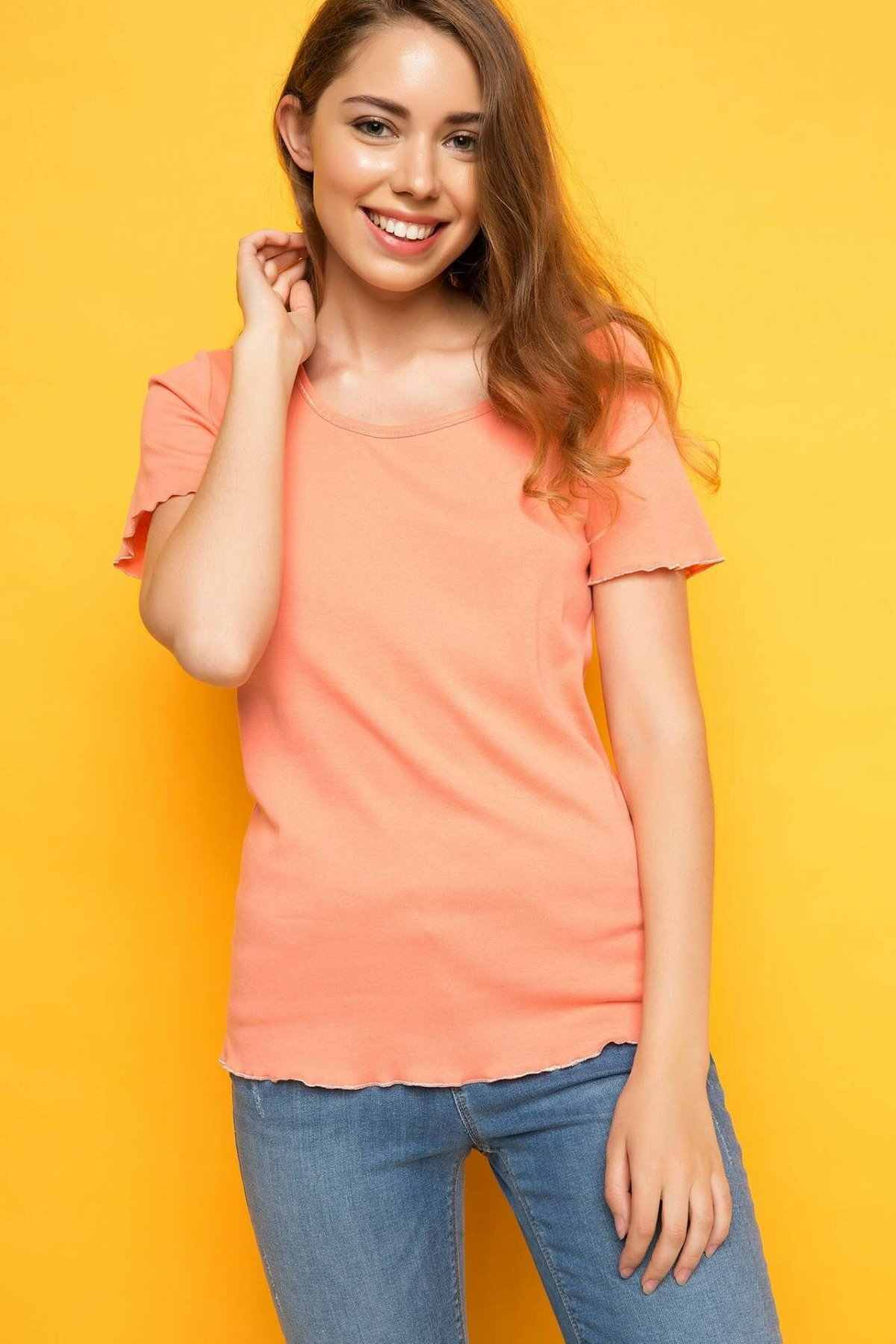 DeFacto kadın o-boyun katı kısa kollu tişört moda bayan basit günlük T-shirt kadın Harajuku T-shirt-H8797AZ17HS-H8797AZ17HS