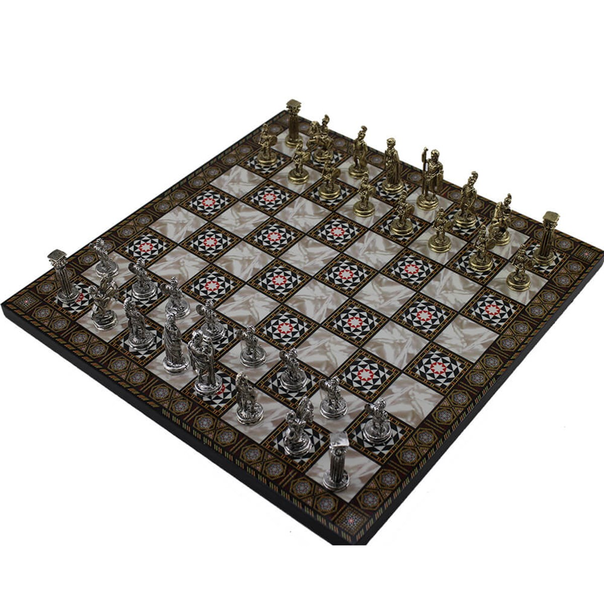 Historical Figures Of Rome Metal Chess Set For Adults, Handmade Pieces, Mosaic Design Wooden Chess Board Small SizeKing 4.8 Cm
