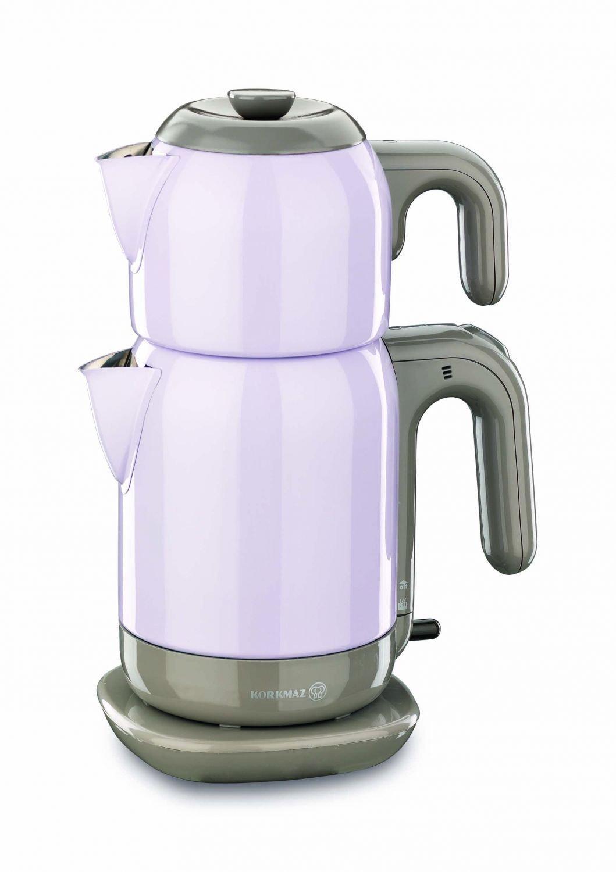 Korkmaz A369-03 Lilac Steel Tea Machine Turkish Electric Teapot, Tea Kettle Machine Maker, Samovari Turkish Tea Maker, Tea Urn