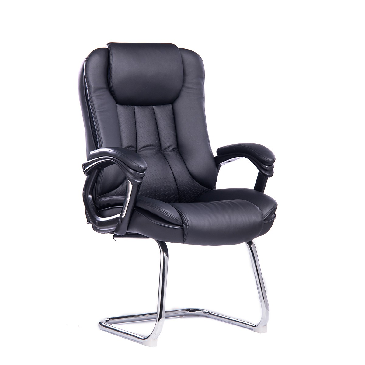 Office Armchair DRESDEN Fixed Skate, Plating, Similpiel Black
