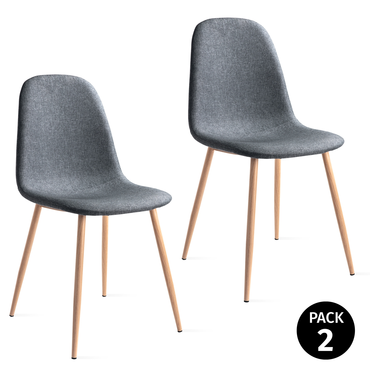 Pack 2 Sillas De Dining Room Scandinavian Fabric Color Grey Pearl, Dining Chairs Padding Structure Metal Effect Wood 46x43x86cm