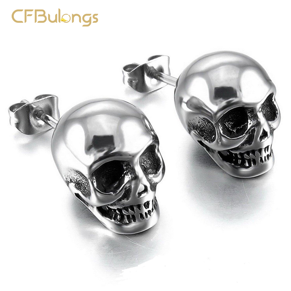 CFBulongs New Store Hot Sale Men Skull Earrings Cool Silver Color Jewelry Punk Hip Hop Vintage Stainless Steel Women Earrings
