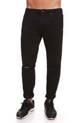 CR7 Vaqueros para Hombre de Color Negro Jeans Casual Informal Super Skinny Slash con Bolsillos CRD036B
