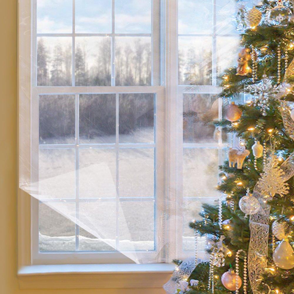 Hiver Fenêtre Isolation Rétractable Film Kit 158X535-Intérieur Fenêtre Film Rétractable Isolant Kit pour Économie D'énergie Cristal film transparent