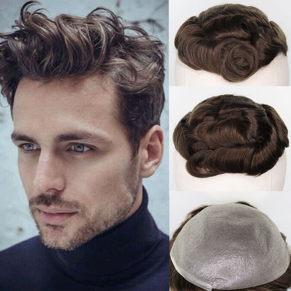 YY Wigs Brown Color Men's Toupee Brazilian Remy Human Hair Replacement System 8x10 Thin PU Toupee For Men Wigs Hairpieces ASH7