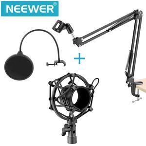 Image 2 - Neewer Штатив для микрофона с ножничным рычагом, держатель с зажимом для микрофона и зажим для крепления на столе и аксессуар для фотофильтра