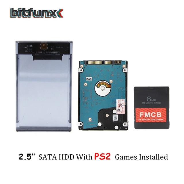 "Bitfunx PS2 FMCB Karte für USB spiele + 2.5 ""SATA HDD Festplatte mit PS2 spiele in Hard disk Fall USB 3,0"
