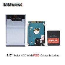 بطاقة Bitfunx PS2 FMCB لألعاب USB + 2.5 SATA الهارد دسك HDD مع ألعاب PS2 في طابعة للبطاقات اللاصقة USB3.0