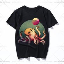 Женская футболка с принтом осьминога в глубоком море летняя