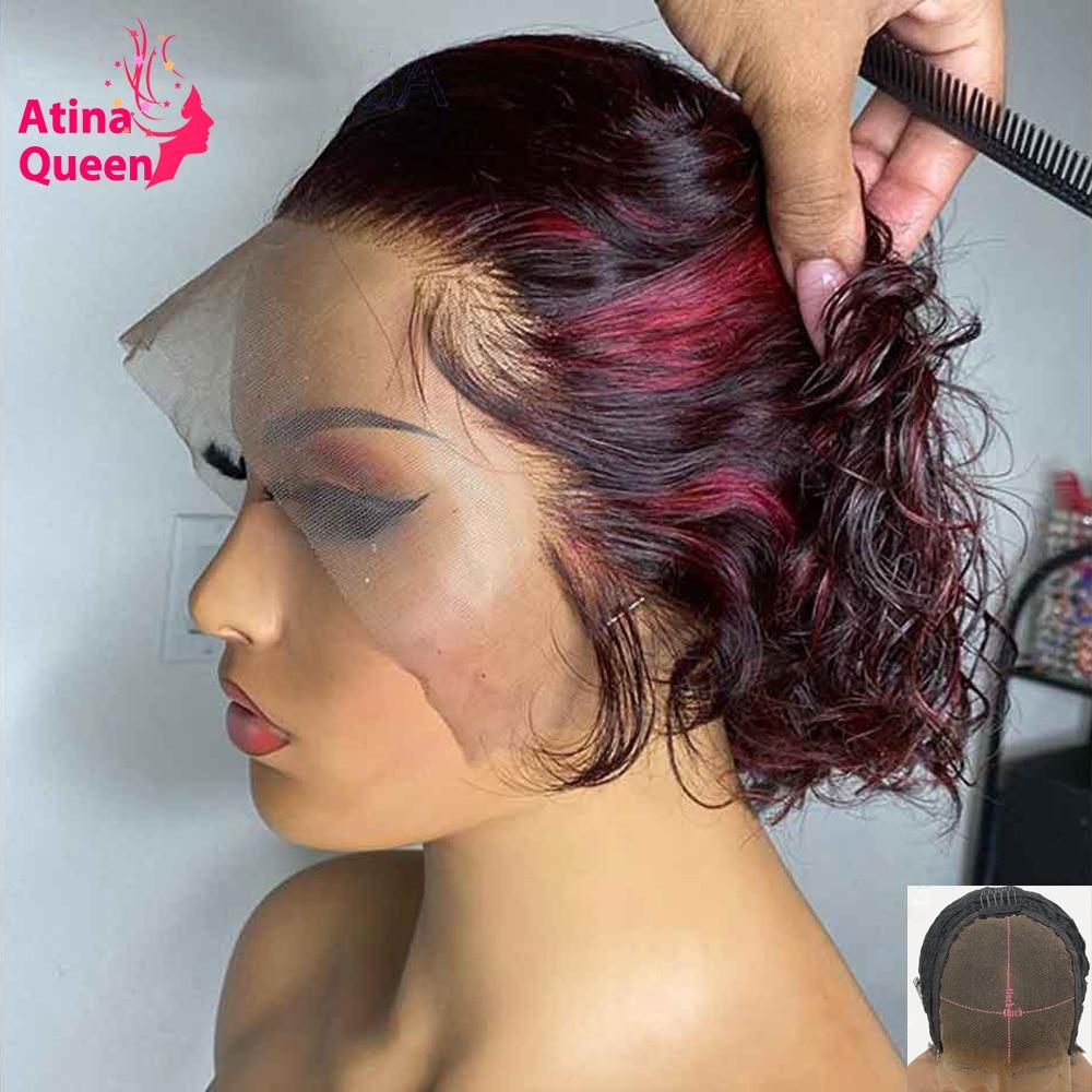 Peluca de cabello humano rizado de corte Pixie para mujeres negras, pelo corto Bob rojo borgoña, predespuntado 1B 99J, cierre de resaltado, 150%