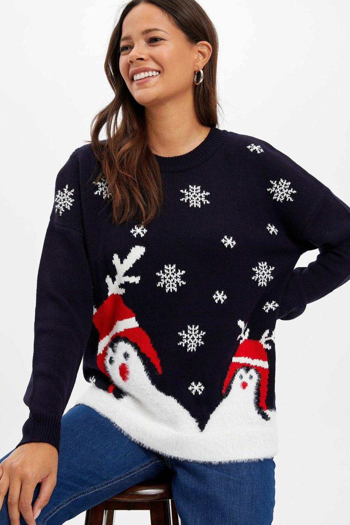 DeFacto Fashion Woman O-neck Pullover Female Casual Christmas Pattern Sweatshirt Ladies Long Sleeves Loose Tops - L4470AZ19WN