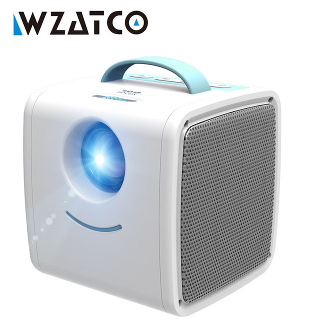 WZATCO Q2 MINI Portable Projector 700 Lumens HDMI Children Kids story Projector High end Electronic Gifts LED Home Beamer