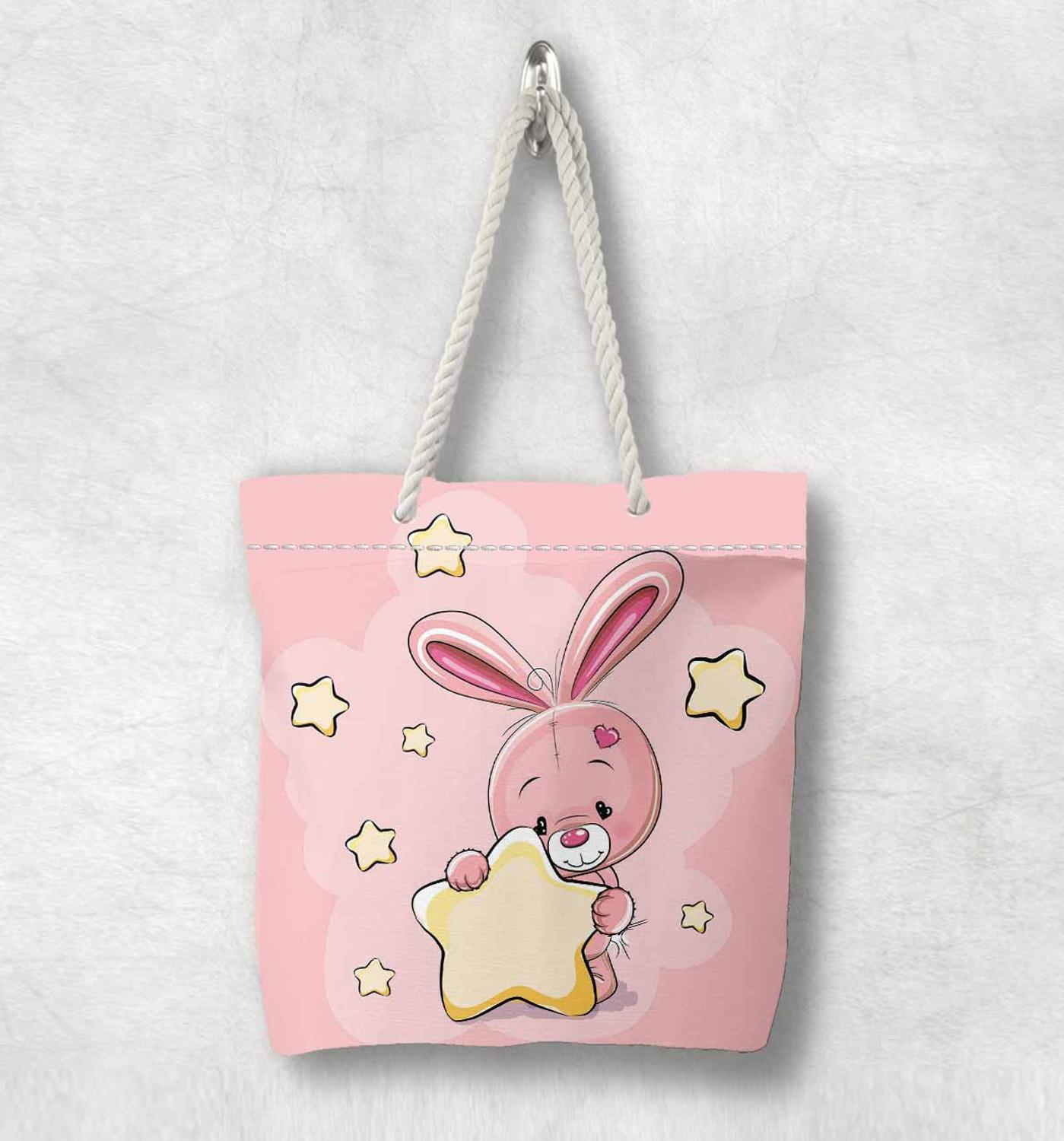 Else Pink Rabbit Yellow Stars New Fashion White Rope Handle Canvas Bag  Cartoon Print Zippered Tote Bag Shoulder Bag