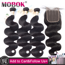 Mobok 10- 30 Inch Body Wave Bundles With Closure Remy Braziilan Human Hair Weave Bundles With 4x4 Lace Closure and Bundles(China)
