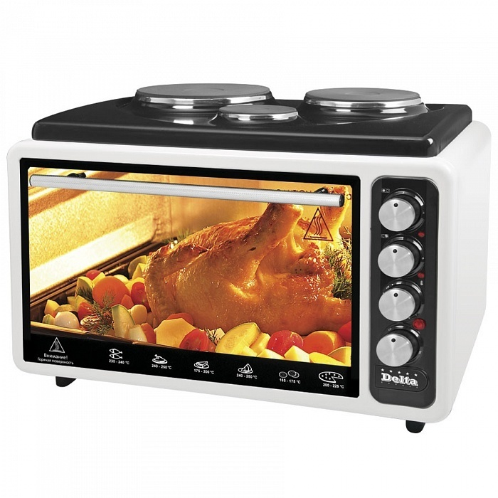 Mini Oven | Oven Electric 40L Delta АD-999 With 3-мя электроконфорками (restyle) (Mini Oven | Oven Electric)