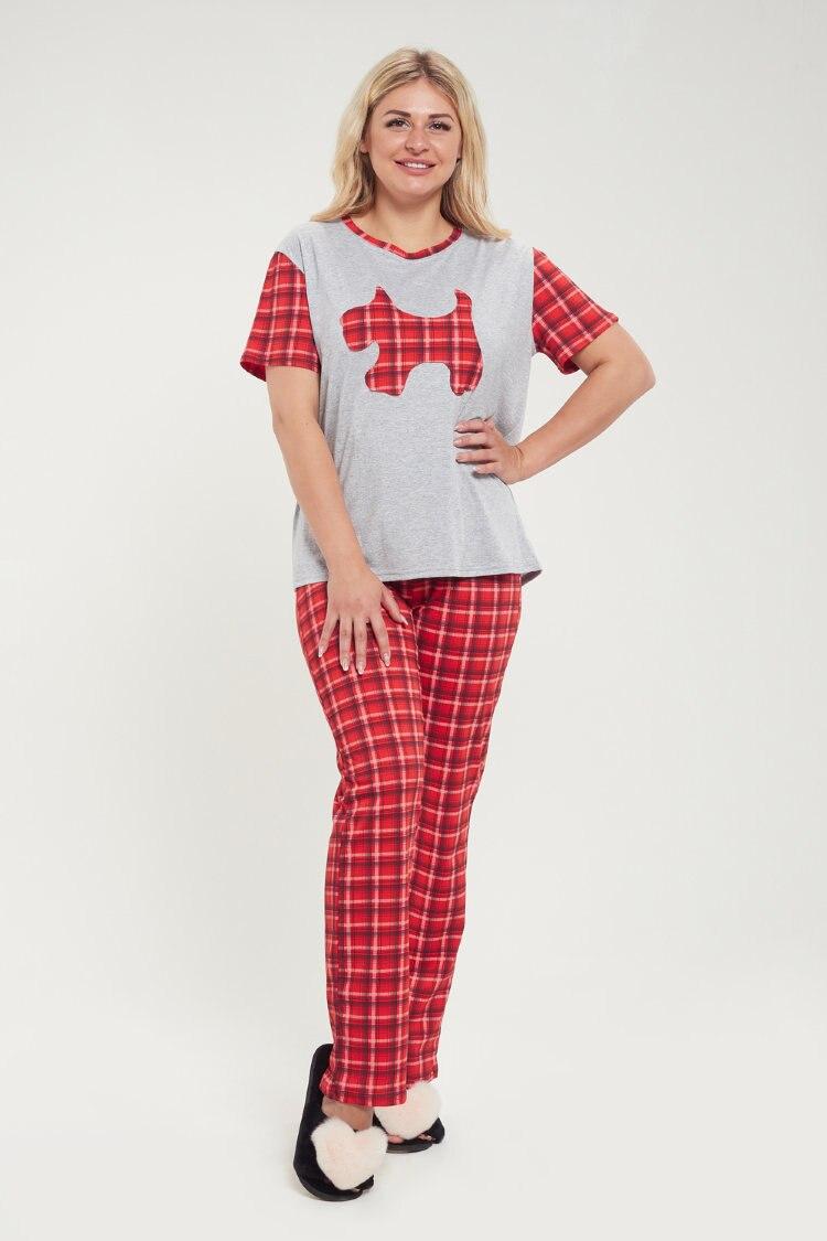 Atoff Home Pajamas ZHP 029 (Gray + Cage Red)