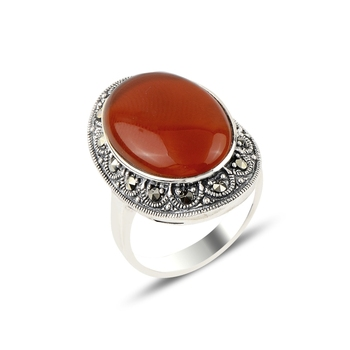 Silver 925 Sterling Red Agate & Marcasite Ring
