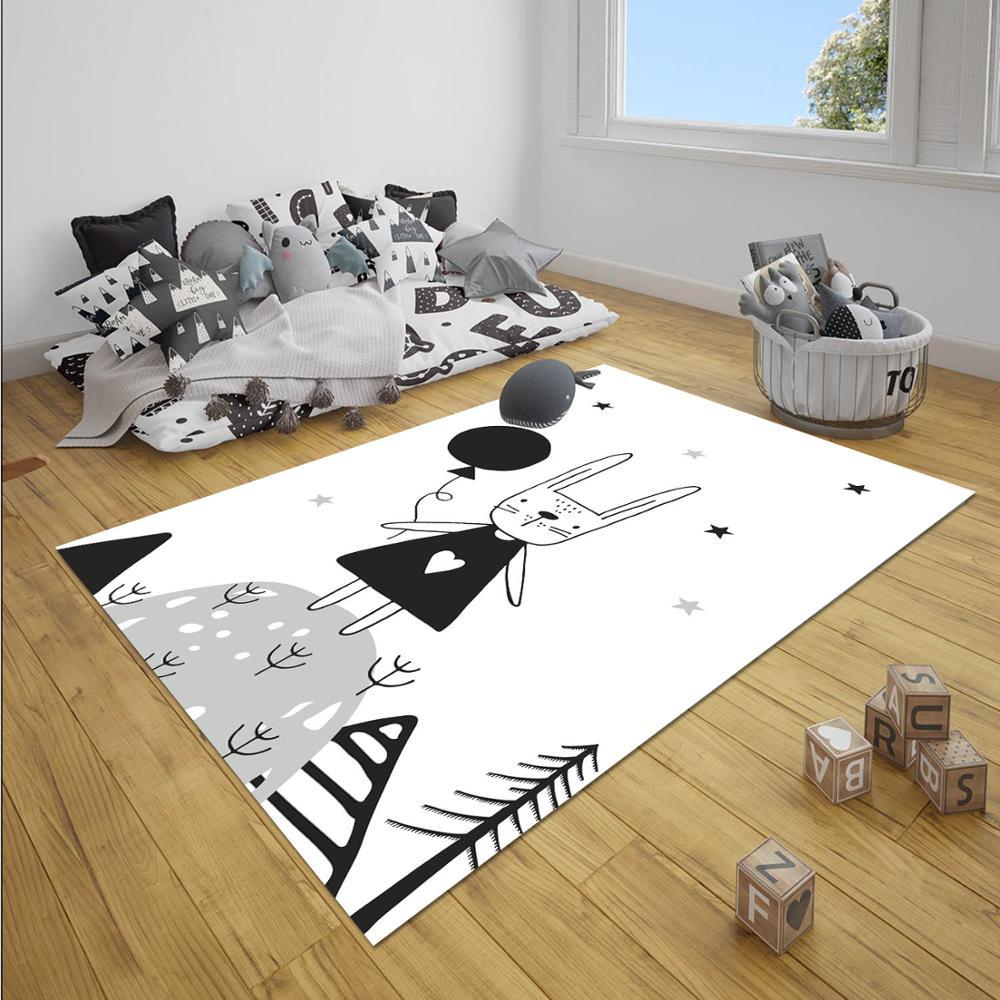 Else Black White Cute Rabbit Balloons Stars 3d Print Non Slip Microfiber Children Baby Kids Room Decorative Area Rug Mat