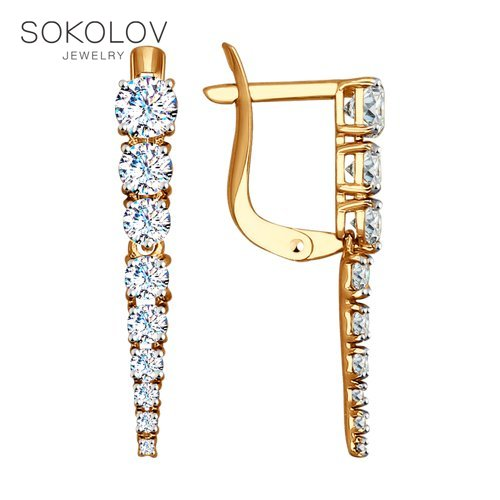 Drop Earrings With Stones With Stones With Stones With Stones With Stones With Stones With Stones With Stones Long SOKOLOV Gold With Cubic Zirconia Fashion Jewelry 585 Women's Male