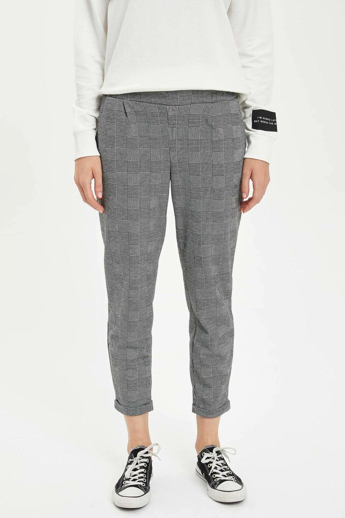 DeFacto Womens Mid Elastic Waist Crop Pants Plaid Pattern Casual Ladies Loose Trousers Sport Female Comfort - L2882AZ19AU