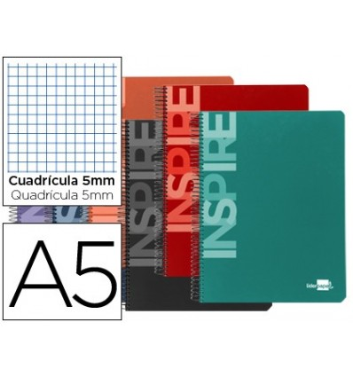 SPIRAL NOTEBOOK LEADERPAPER A5 MICRO INSPIRE HARDCOVER 160H 60 GR TABLE 5MM 5 BANDS 6 DRILLS COLORS ASSORTED
