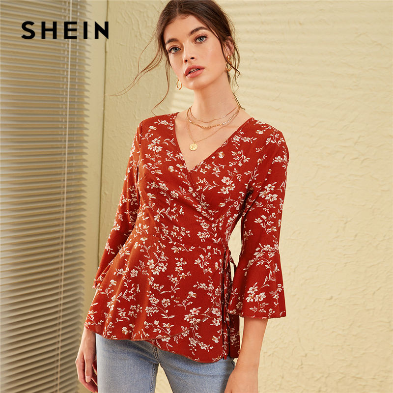 SHEIN V Neck Ditsy Floral Print Knot Side Boho Wrap Blouse Women Tops 2019 Autumn Holiday Flounce Sleeve Ladies Fitted Blouses