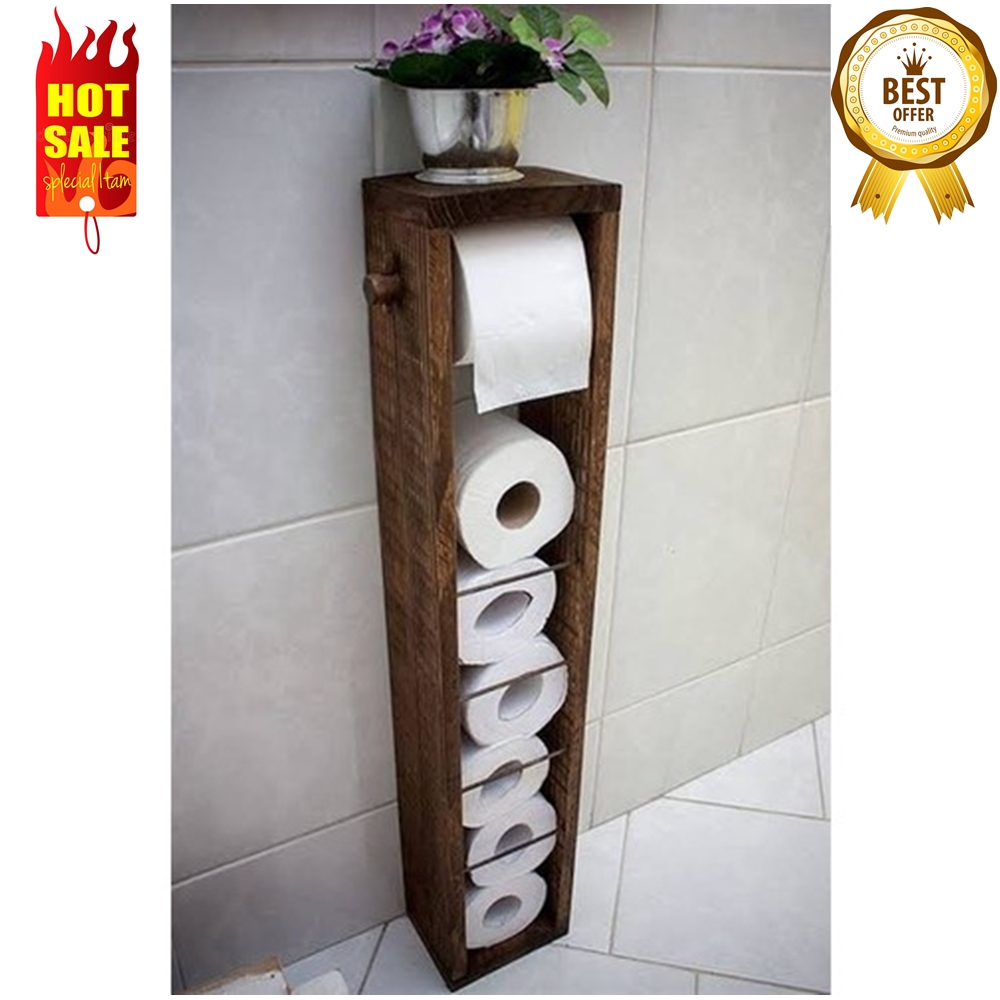 Made In Turkey WOODEN Roll Toilet Paper Holder With Shelf And  Stand Storage Cabinet Container Box Bathroom Accessories Set
