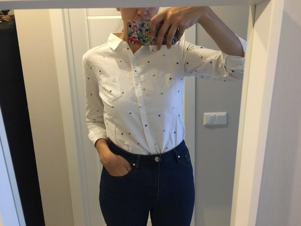 Utumn Cotton Polka Dots Long Sleeves Shirt Women All Match photo review