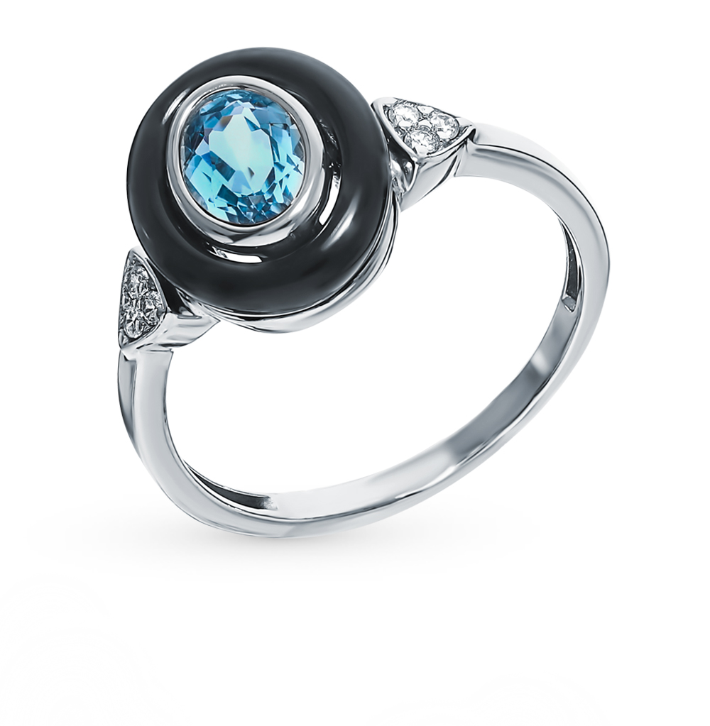 Silver Ring With Topaz And Cubic Zirconia Sunlight Sample 925