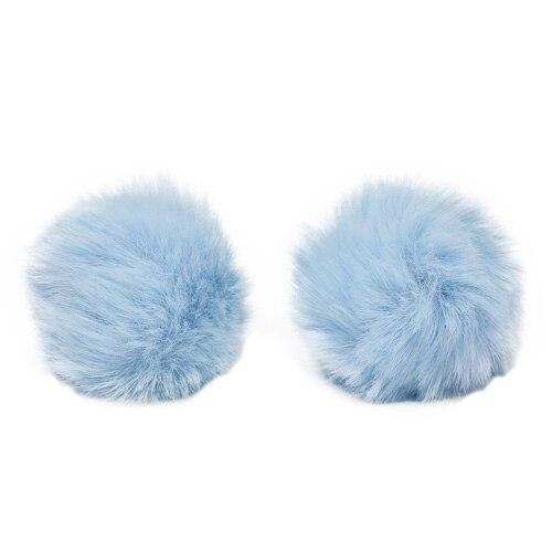 Pompon Made Of Artificial Fur (rabbit), D-6cm, 2 Pcs/pack (F St. Blue)
