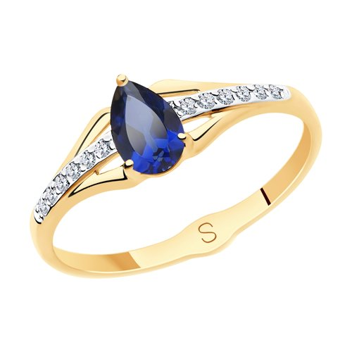 SOKOLOV Ring Gold With Blue Corundum (synthetic) And Cubic Zirkonia