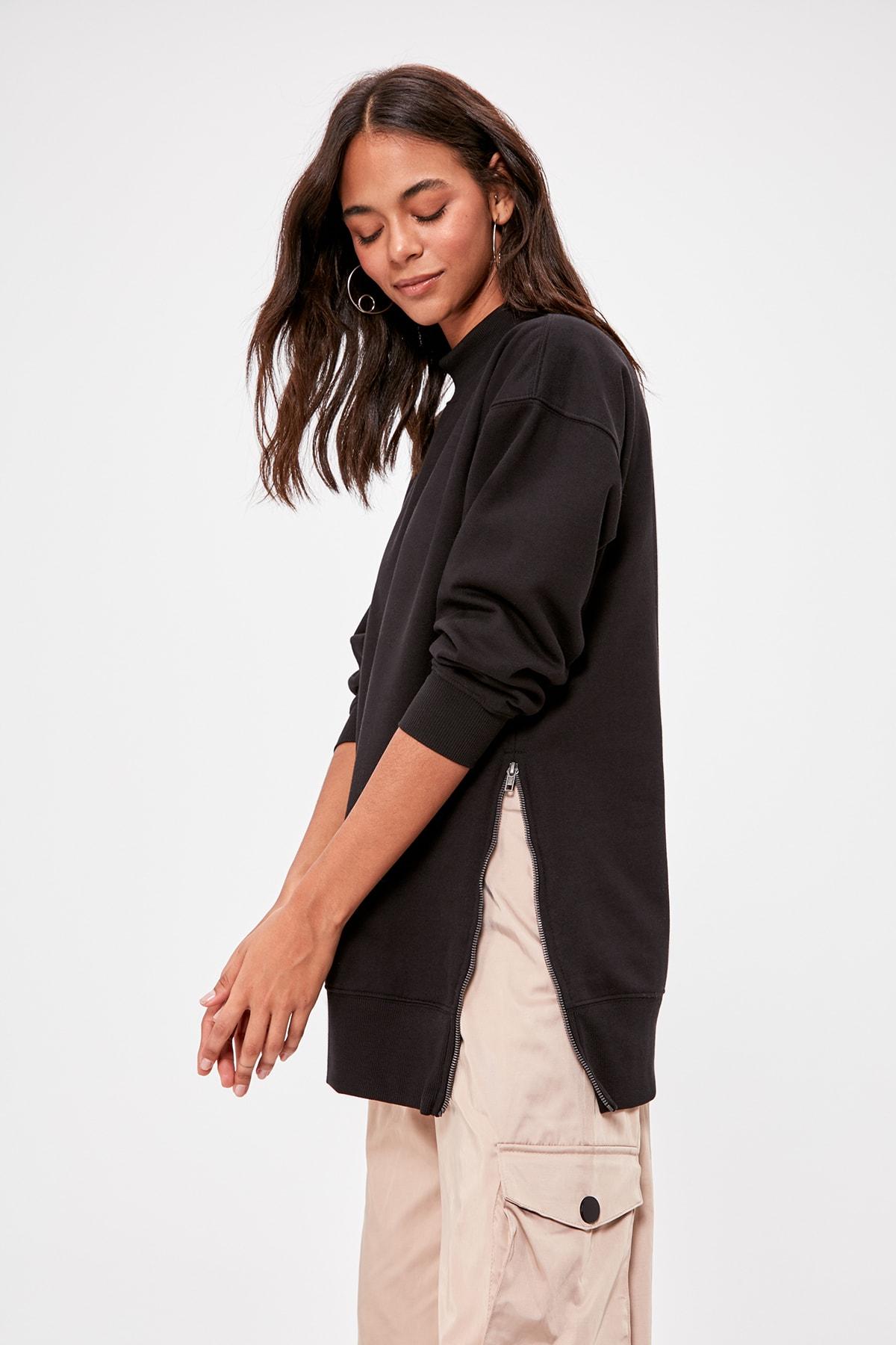 Trendyol Zip Detail Knitted Sweatshirt TWOAW20SW0322