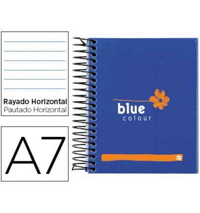 SPIRAL NOTEBOOK LEADERPAPER MICROPERFORATED A7 100H HORIZONTAL 4 COLORS TFORRADA MEDITERRANEA BLUE 4 Pcs