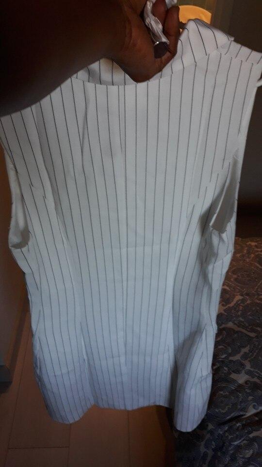 Conmoto Stripe Sleeveless Office Short Dress Women Autumn Winter Bodycon Pocket Blazer Dress Button Business White Dress photo review