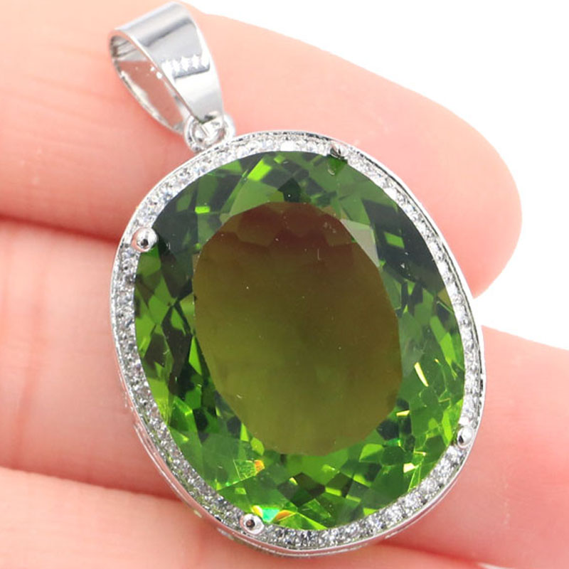 25x20mm Big Oval Gemstone 22x18mm Green Peridot White CZ Gift For Girls Silver Pendant